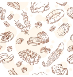 Vintage hand-drawn food set seamless pattern vector image