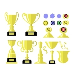 Winners cup Set of different golden bowls and vector image
