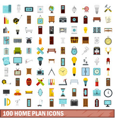 100 home plan icons set flat style vector
