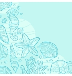 Background with seashells rocks seahorse waves vector