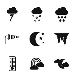 Weather outside icons set simple style vector