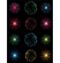 12 fireworks vector image vector image