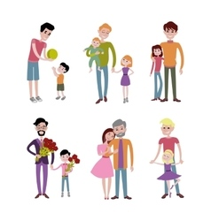 Father and kids together character vector image