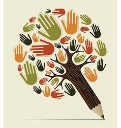Diversity hand concept pencil tree vector image