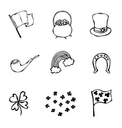 st patrick s day icons collection outline vector image