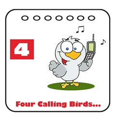Four calling birds cartoon vector image