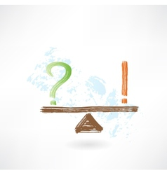 question exclamation balance grunge icon vector image