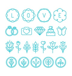 Love and wedding linear icons vector