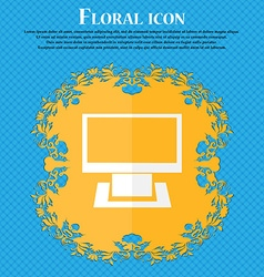 Computer widescreen monitor sign icon floral flat vector