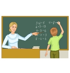 Teacher and schoolboy at blackboard eps10 vector