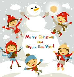 Shiny christmas background with funny snowman and vector