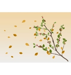 Autumn season yellow leaf branch vector