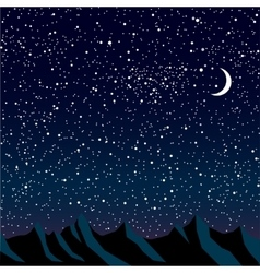 Silhouette of mountains starry sky eps 10 vector