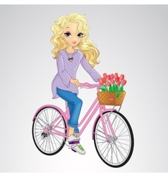 Blonde girl riding pink bicycle vector
