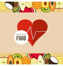 Assorted healthy food and heart cardiogram icons vector