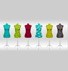 Big set of different female tailors dummy vector
