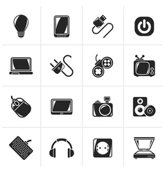 Black Electronic Devices objects icons vector image vector image