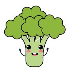Broccoli fresh kawaii character vector