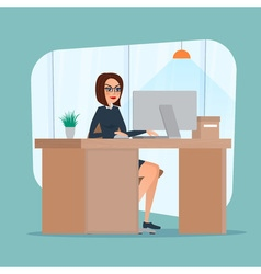 Business woman lady entrepreneur in a suit working vector