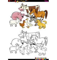 Cartoon farm animals coloring book vector