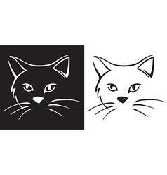 cat head on black and white background vector image vector image