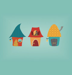 cute cartoon colorful houses vector image