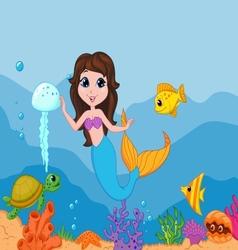 Cute mermaid cartoon waving hand vector image