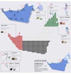Dot and flag map of united arab emirates vector