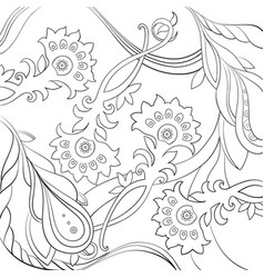 Floral pattern drawn in a line art stylecoloring vector