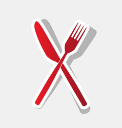 Fork and knife sign new year reddish icon vector