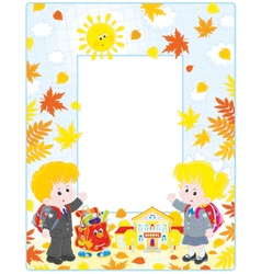 Frame with schoolchildren and a school vector image vector image