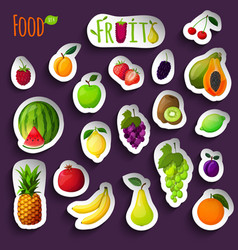 Fresh fruits stickers vector image vector image