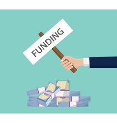 Funding investment money stack cash with hand vector