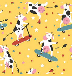 funky cows on skates and kick scooters vector image vector image