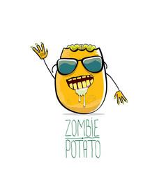 Funny cartoon cute orange zombie potato vector