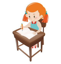 girl in blue dress writing on notebook vector image