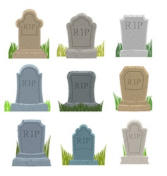 Gravestones set Old Tomb Collection Ancient RIP vector image