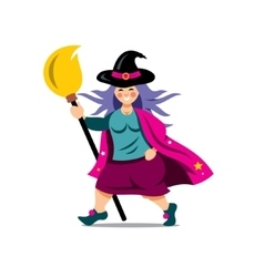 Halloween witch with broomstick cartoon vector