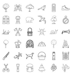 hiking icons set outline style vector image vector image