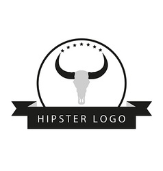 Hipster minimalistic logotype with head of buffalo vector image vector image