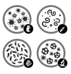 Icons virus in petri dish vector