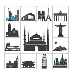 Landmark travel icons vector image