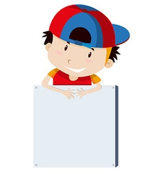 Little boy and blank sign vector image