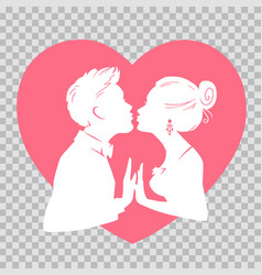 man and woman kissing on transparent background vector image