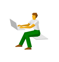 man working at a laptop vector image