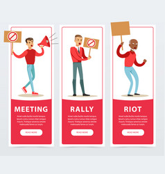 Meeting rally riot banners set angry men vector