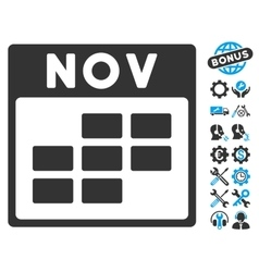 November calendar grid icon with bonus vector
