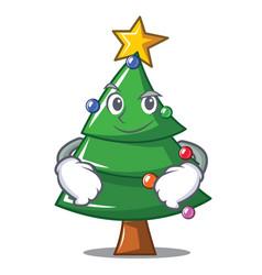 Smirking christmas tree character cartoon vector