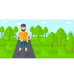 Sporty man on roller-skates vector image