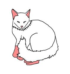White cat sleeping on white background vector